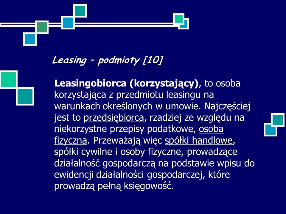 Leasing – podmioty [10]